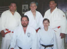 Alain Wilkinson (front left) and Eileen Hagen from the Encino Judo Club with Ichiro Abe, one of only 3 living Kodokan 10th degree black belts, and two other Kodokan instructors after a Kata clinic